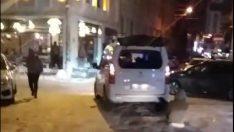 Cadde ortasında kayak keyfi