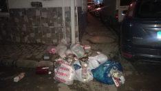 Çevre ve görüntü kirliliğine sebep olan çöpler kaldırımları bile işgal ediyor