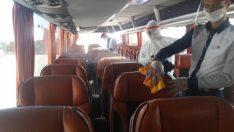 Şehirlerarası yolculuk öncesi otobüsler dezenfekte ediliyor